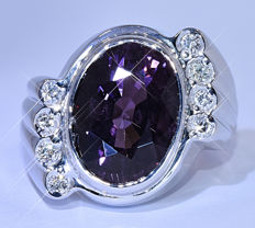 5.98 Ct Purple Tourmaline with Diamonds ring - NO reserve price!