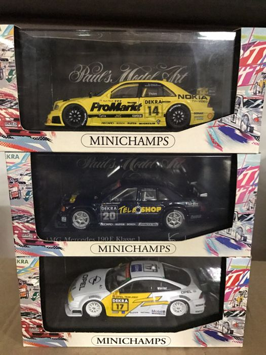 Minichamps - Scale 1/43 - Lot with 3 models: 2 x Mercedes-Benz DTM & 1 x Opel DTM