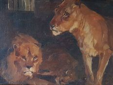 Anton Denzel (1888-1962) - Pair of Lions