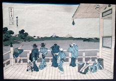 "Houtsnede door Katsushika Hokusai (1760 -1849) (herdruk) - 'Looking over Edo-bay to Mount Fuji' uit de serie ""Thrity-six views of Mt. Fuji"" - Japan - Begin 20e eeuw"