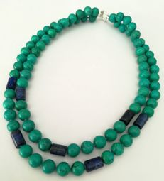 Turquoise necklace + Lapis Lazuli with 2 loops - tied with silk knot - Turquoise 10.5mm