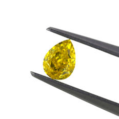 0.50 Ct. Natural Fancy Vivid Yellow Pear shape Diamond, GIA certified