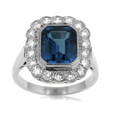 Diamond and Blue Gem Stone 'Entourage' Ring, as new.