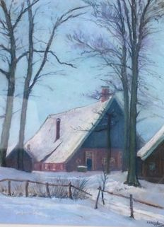 P A Nijgg (1876-1959) -  Boerenerf in de winter