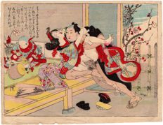 Original shunga woodblock print by an unknown artist - Two Lovers on a Veranda - Japan - ca. 1900