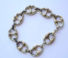 Antique 21 cm bracelet in silver hallmarked 800 with buttons of Zealand, 16.18 g
