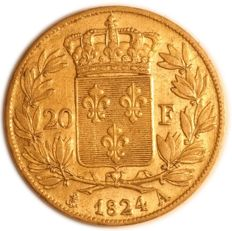 France – 20 Francs 1824 A (Paris) – Louis XVIII – gold