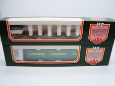 HAG H0 - 367/379 - Sgss Container wagon and Rs Flat wagon with car load of the SBB/CFF