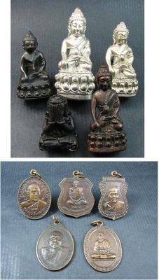 A collection of 10 Buddha figurines and amulets - Thailand - 1975 and later.
