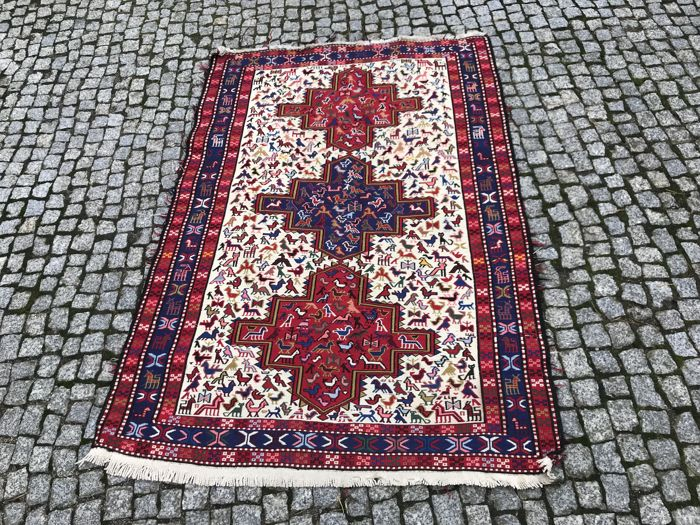 OLD Made in Iran - Persian Sumak Rug -Hand knotted - 163x112 cm