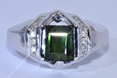 2.13 ct Green Tourmaline with Diamonds, designer ring - NO reserve price!