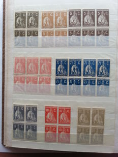 "Portugal 1912/1930 – ""CERES"" stamp lot in multiples, various papers and jagged."