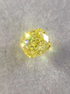 0.62 Ct Natural Fancy Intense Yellow GIA Certiied  Vs1 Clarity Cushion  Cut