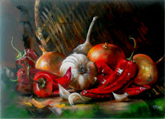 Nakonechniy Alexandr (*1968)  -  Still life with garlic, onion and red pepper