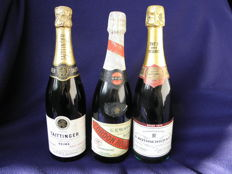 1973 A. Rothschild & Co. Champagne Rosé Brut Reserve Private Cuvee & Cordon Rouge Mumm Reims & Taittinger Brut Reserve - 3 bottles 75cl.