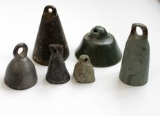 Ancient Roman big bronze bells - 29 mm / 60 mm (6)