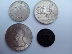Italy and Italian Albania – Lot of 4 coins, 1914/1939, Vittorio Emanuele III (including silver)