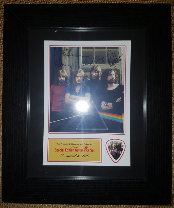 "Pink Floyd ""Dark Side Of The Moon"" Beautiful Signed (in print) Picture Framed With Special Edition Guitar Pick - Limited Edition"