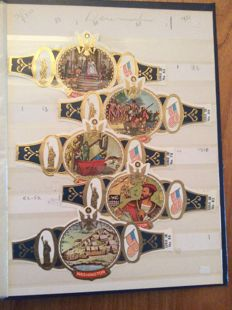 Cigar bands varied lot of approx. 2200 pieces in 3 albums and case