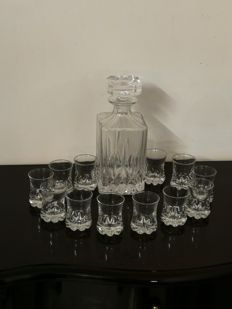 Baccarat cut crystal Whisky set with 12 shot glasses made of heavy crystal