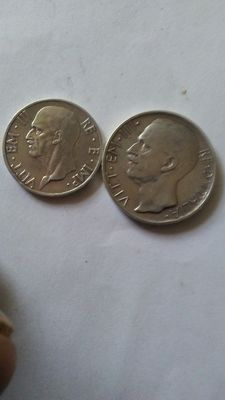 Kingdom of Italy – 5 Lire, 1936 and 10 Lire, 1928, Vittorio Emanuele III (2 coins) – Silver