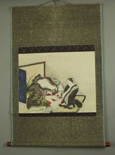 Scroll painting, Shunga, hand-painted - Japan - 19th century