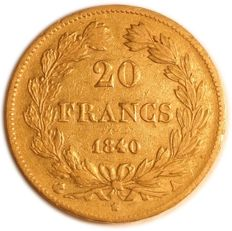France – 20 francs 1840 A (Paris) - Louis Philippe I – gold