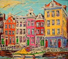 Mathias - Canal of Amsterdam, yellow houses and boat