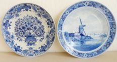 The Porceleyne Fles - Two Delft blue wall plates (22 cm), flowers and mill