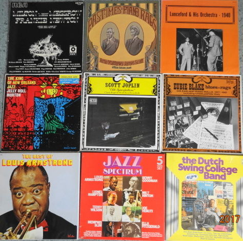 9 albums (18 LP's) of Old Style, New Orleans Jazz. And Rags.