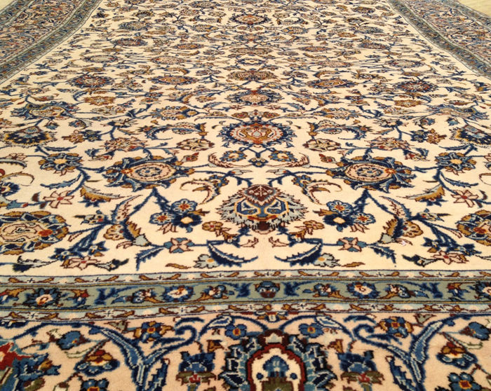 Amazing Semi Antique Persian Kashan Large Area Rug 390 cm x 291 cm