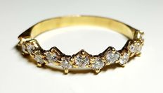 American half-alliance ring in yellow gold with 12 diamonds diameter of 2.5 mm (0.6 ct)