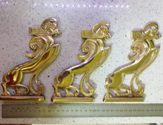 Three sold bronze winged Egyptian horses - Ideal for furniture ornament, decoration