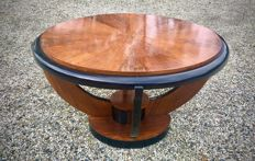 Large modernist wooden art deco style coffee table - walnut with black rushes, ca. 1970s, France