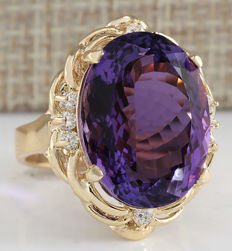 14.91 Carat Amethyst 14K Solid Yellow Gold Diamond Ring - Ring Size: 7 *** Free Shipping *** No Reserve *** Free Resizing ***