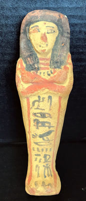 Large Egyptian painted terracotta ushabti - 16 cm / 6 inches