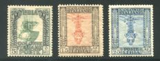Lybia, 1921 -- Pictorial series, 5¢ + 10¢ + 15 ¢ with upside-down portrait -- Sassone  No.  23c and 25c and 26c