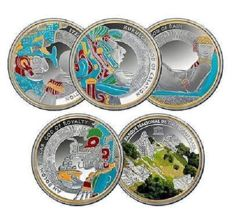 Niue - 2 dollars 2015 - Gods of Maya - collection of 5 coloured coins - silver