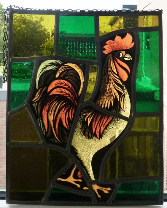 Beautiful stained glass SunCatcher 'Rooster'
