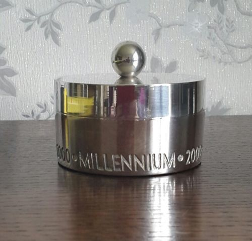 Lot 734 - Old 2000 silver plated commemorative box, England, 1930s