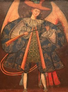 Cuzco colonial school (XIX) - Archangel Archebusier Saint Miguel