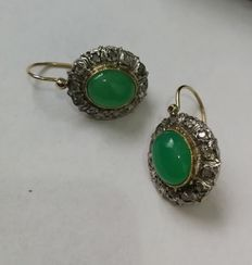 14k Gold antique cluster set earrings with cabochon cut Jadeite and 12 rose cut Diamonds, approx 5 ct.