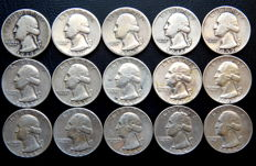 United States - Quarter Dollar 1939/1964 'Washington' (lot of 15 coins) - Silver