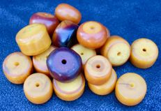17 big, antique beads - phenolic resin - North Africa - early 20th century