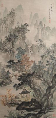 Handpainted hanging scroll  - China - late 20th