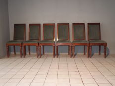 Gaston Poisson - 6 mahogany chairs - Art Deco