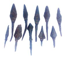 Medieval iron arrowheads (10) 45-95 mm