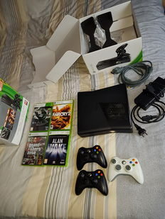 Xbox 360 - 250GB boxed including 5 games on disc and 3 controllers