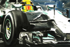 Lewis Hamilton Mercedes AMG Petronas Turbo F1 Formula 1 ORIGINAL Oil Painting on Canvas hand-made by Artist Andrea Del Pesco + COA.
