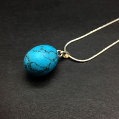 6,7g turquoise and 925/1000 silver pendant rare egg shape; chain length: 48cm